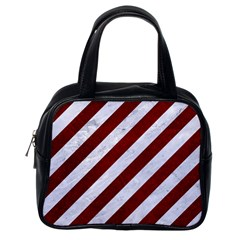 Stripes3 White Marble & Red Grunge (r) Classic Handbags (one Side)
