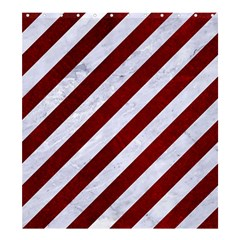 Stripes3 White Marble & Red Grunge (r) Shower Curtain 66  X 72  (large)