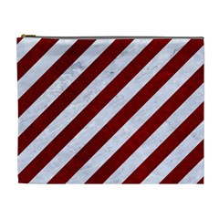 Stripes3 White Marble & Red Grunge (r) Cosmetic Bag (xl) by trendistuff