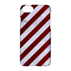 Stripes3 White Marble & Red Grunge (r) Apple Iphone 7 Hardshell Case by trendistuff