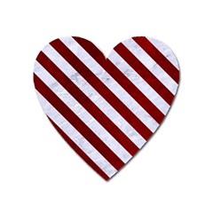 Stripes3 White Marble & Red Grunge Heart Magnet by trendistuff