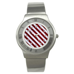 Stripes3 White Marble & Red Grunge Stainless Steel Watch by trendistuff