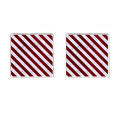 Stripes3 White Marble & Red Grunge Cufflinks (square) by trendistuff