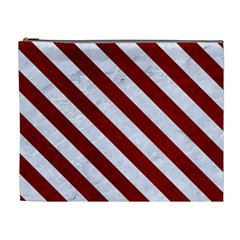 Stripes3 White Marble & Red Grunge Cosmetic Bag (xl) by trendistuff