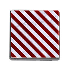 Stripes3 White Marble & Red Grunge Memory Card Reader (square) by trendistuff