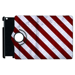 Stripes3 White Marble & Red Grunge Apple Ipad 2 Flip 360 Case by trendistuff