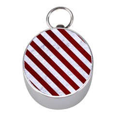 Stripes3 White Marble & Red Grunge Mini Silver Compasses