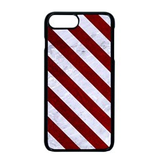 Stripes3 White Marble & Red Grunge Apple Iphone 8 Plus Seamless Case (black)
