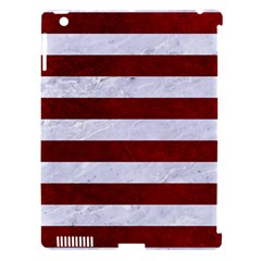 Stripes2white Marble & Red Grunge Apple Ipad 3/4 Hardshell Case (compatible With Smart Cover) by trendistuff