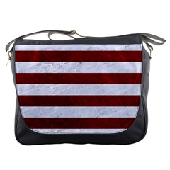 Stripes2white Marble & Red Grunge Messenger Bags by trendistuff