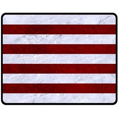Stripes2white Marble & Red Grunge Double Sided Fleece Blanket (medium)  by trendistuff