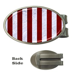 Stripes1 White Marble & Red Grunge Money Clips (oval)  by trendistuff