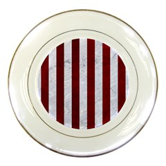 Stripes1 White Marble & Red Grunge Porcelain Plates by trendistuff