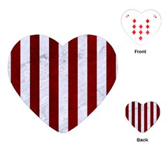 Stripes1 White Marble & Red Grunge Playing Cards (heart)  by trendistuff