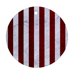 Stripes1 White Marble & Red Grunge Round Ornament (two Sides) by trendistuff