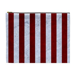 Stripes1 White Marble & Red Grunge Cosmetic Bag (xl) by trendistuff