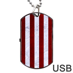 Stripes1 White Marble & Red Grunge Dog Tag Usb Flash (two Sides) by trendistuff