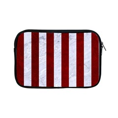 Stripes1 White Marble & Red Grunge Apple Ipad Mini Zipper Cases by trendistuff