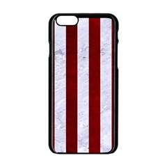 Stripes1 White Marble & Red Grunge Apple Iphone 6/6s Black Enamel Case