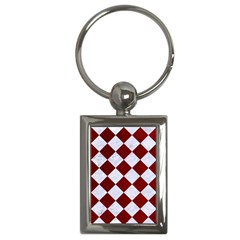Square2 White Marble & Red Grunge Key Chains (rectangle)  by trendistuff