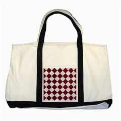 Square2 White Marble & Red Grunge Two Tone Tote Bag by trendistuff