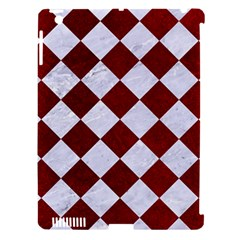 Square2 White Marble & Red Grunge Apple Ipad 3/4 Hardshell Case (compatible With Smart Cover) by trendistuff
