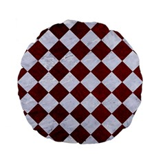 Square2 White Marble & Red Grunge Standard 15  Premium Flano Round Cushions by trendistuff