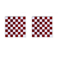 Square1 White Marble & Red Grunge Cufflinks (square) by trendistuff