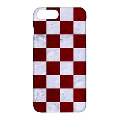 Square1 White Marble & Red Grunge Apple Iphone 8 Plus Hardshell Case by trendistuff