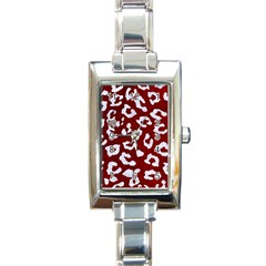 Skin5 White Marble & Red Grunge (r) Rectangle Italian Charm Watch by trendistuff