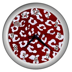 Skin5 White Marble & Red Grunge (r) Wall Clocks (silver)  by trendistuff
