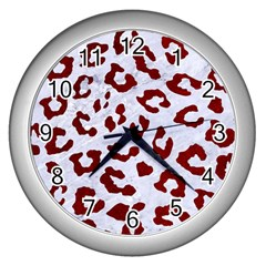 Skin5 White Marble & Red Grunge Wall Clocks (silver)  by trendistuff