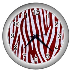 Skin4 White Marble & Red Grunge (r) Wall Clocks (silver)  by trendistuff