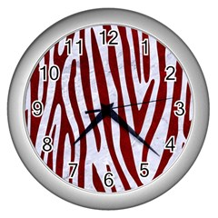 Skin4 White Marble & Red Grunge Wall Clocks (silver)  by trendistuff