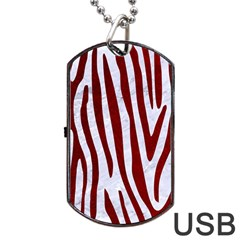 Skin4 White Marble & Red Grunge Dog Tag Usb Flash (two Sides) by trendistuff