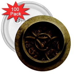 Abstract Steampunk Textures Golden 3  Buttons (100 Pack)  by Sapixe
