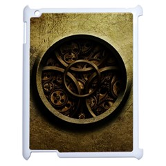 Abstract Steampunk Textures Golden Apple Ipad 2 Case (white) by Sapixe