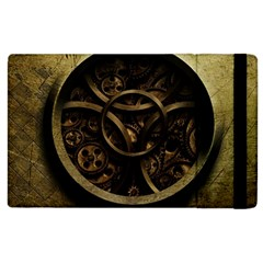 Abstract Steampunk Textures Golden Apple Ipad 2 Flip Case by Sapixe