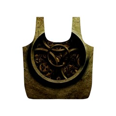 Abstract Steampunk Textures Golden Full Print Recycle Bags (s)