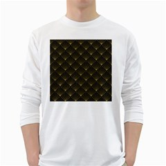 Abstract Stripes Pattern White Long Sleeve T-shirts