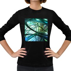 Abstract Women s Long Sleeve Dark T Shirts