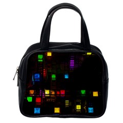 Abstract 3d Cg Digital Art Colors Cubes Square Shapes Pattern Dark Classic Handbags (one Side)