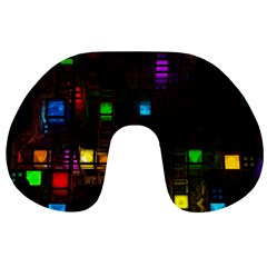 Abstract 3d Cg Digital Art Colors Cubes Square Shapes Pattern Dark Travel Neck Pillows by Sapixe