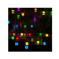 Abstract 3d Cg Digital Art Colors Cubes Square Shapes Pattern Dark Small Satin Scarf (square) by Sapixe