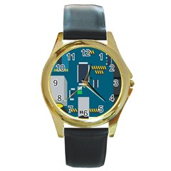 Amphisbaena Two Platform Dtn Node Vector File Round Gold Metal Watch