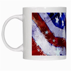 American Flag Red White Blue Fireworks Stars Independence Day White Mugs