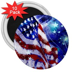 American Flag Red White Blue Fireworks Stars Independence Day 3  Magnets (10 Pack)