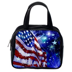 American Flag Red White Blue Fireworks Stars Independence Day Classic Handbags (one Side)