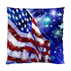 American Flag Red White Blue Fireworks Stars Independence Day Standard Cushion Case (two Sides)