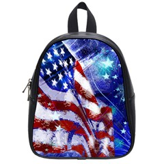 American Flag Red White Blue Fireworks Stars Independence Day School Bag (small) by Sapixe